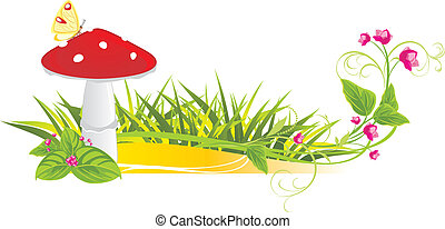 Fly agaric mushroom and flowers. Vector illustration