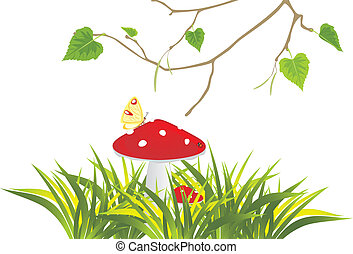 Fly agaric mushrooms in grass and birch sprig. Vector...