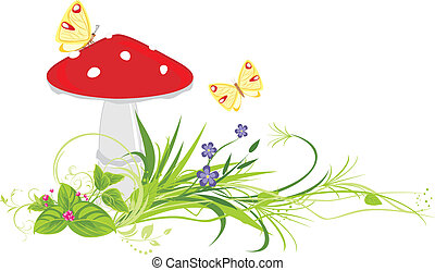 Fly agaric mushroom, flowers and butterflies. Vector...