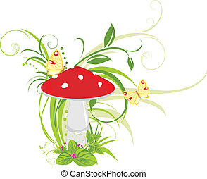 Fly agaric mushroom and butterflies. Vector illustration