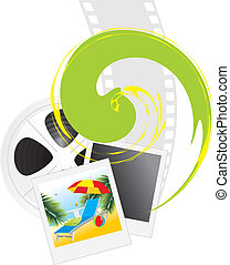 Film objects and photography of resort. Vector illustration