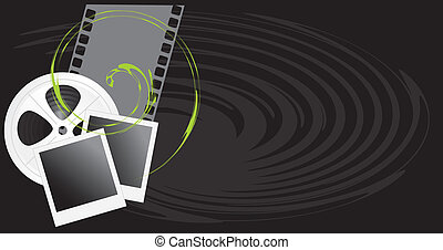 Film objects on the black background. Vector illustration