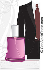Masculine suit and perfume on the decorative background....