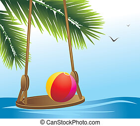 Swing and beach ball among palms. Vector illustration