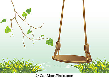 Swing on the riverside. Vector illustration