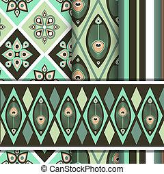 Vector set of patterns with peacock butterfly - Set of...