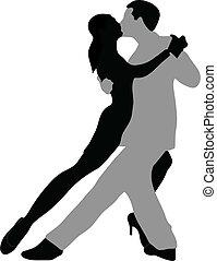 Tango dancers - Vector silhouette of couple dancing tango