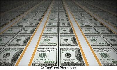 Money conveyor, dollars
