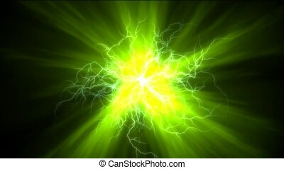 lightning magnetic field & green rays laser.