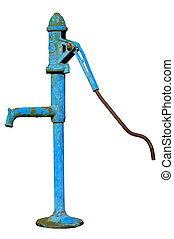 Water pump - The old fashioned hand water pump isolated on a...