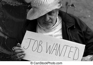 Job wanted-2 - Unemployed homeless beggar in garbage bins on...