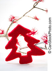Red Christmas Tree decoration in wool