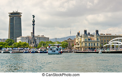 Port Vell at Barcelona Coastline