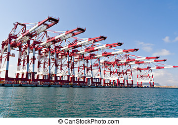Cargo Cranes in Industrial Port