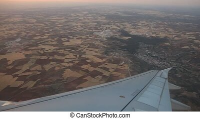 Airplane flying Over Madrid, Spain - video footage of a...