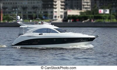 motorboat - cruising motor yacht in the movement of the...