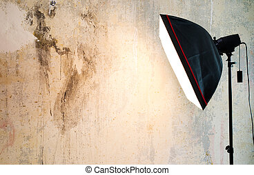 Empty background inside photo studio - Closeup fragment of...