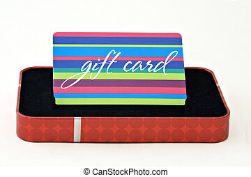 Gift Card - Gift card displayed in a gift box isolated on a...