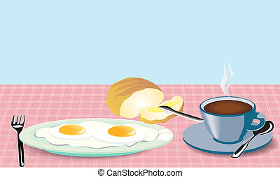 morning meal fried eggs coffee and bread with mask -...