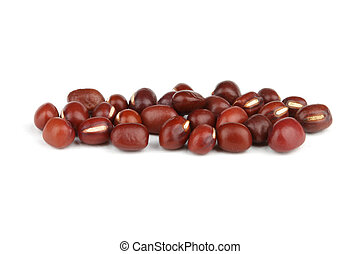 Adzuki beans isolated on white background.