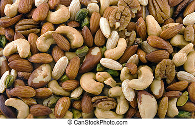 Mixed Nuts - Close up of assorted mixed nuts background