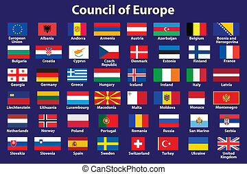 Council of Europe flags - set of Council of Europe flags...
