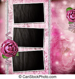 Album page - romantic background with frames, rose, lace,...