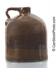 Little Brown Jug - Antique ceramic jug on white background