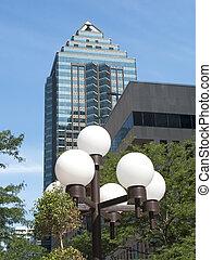 Skyscraper with city lights - urban scene with skyscraper,...