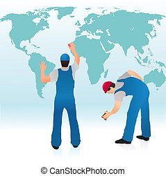 Two professionals cleaning the world`s map