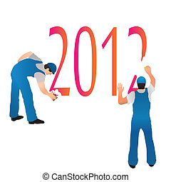 Two professionals erasing the 2012