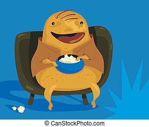 Couch Potato - Happy couch potato cartoon enjoying TV...
