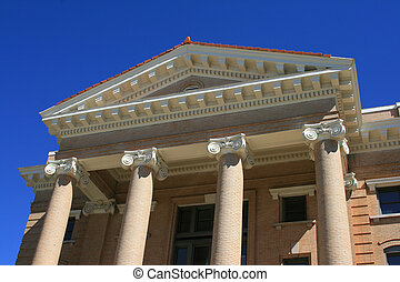Court House Pillars - Decorative pillars and cornises on...