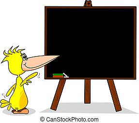 Cartoon bird at blackboard