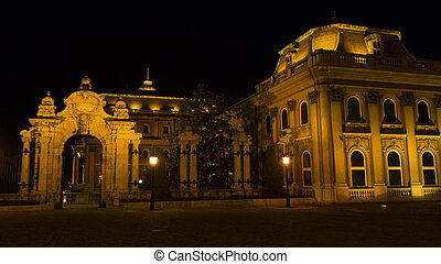 Budapest, ornate arched gateway to the Royal Palace -...