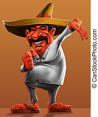 Mexican - traditional mexican with a sombrero and smiling