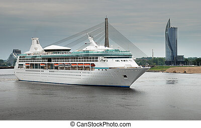 Liner. - Cruise liner leave Riga port.
