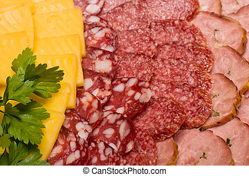 Meat assortment and cheese - Meat assortment of beef,...