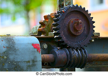 Old worm gear from by sluice, small city Saarburg,...