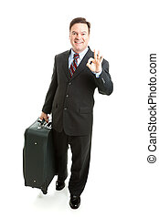A-Okay Sign From Business Traveler