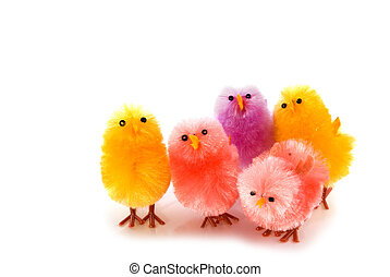 happy easter with colorful chickens