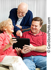 Learning the Tablet PC - Senior couple learns how to use...