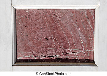 antique red marble slab framed with white marble - element...