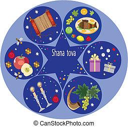shana tova - six holiday icons on the blue background,jewish...