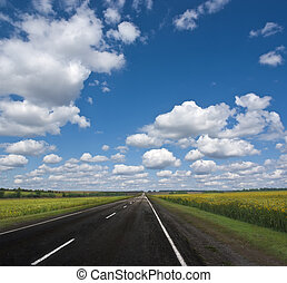 Highway against a background of cloudscape