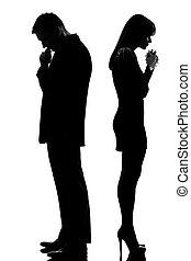 um, triste, par, costas, costas, homem, pensando, mulher,...