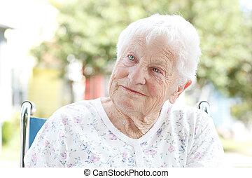 Senior Woman in Wheelchair - Senior Woman in a Wheelchair