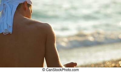 Young Man on Summer Beach