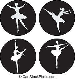 Dancing ballerina silhouettes