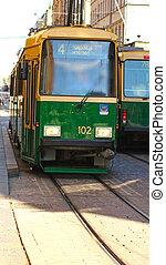 Green tram in the capital of Finland, Helsinki